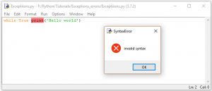 Python Syntax Error in While Loop