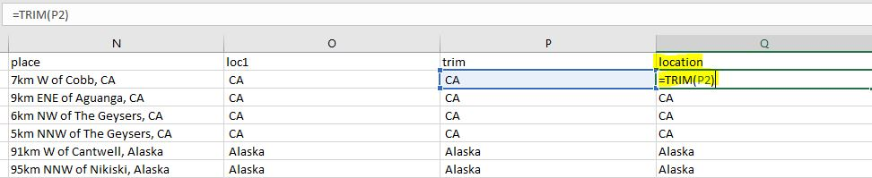 Excel earthquake location trimming spaces