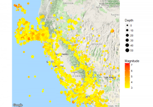 Northern California Earthquake Depth and Magnitude Map