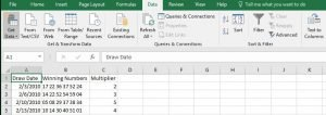 Powerball Numbers Cleaning Data in Excel