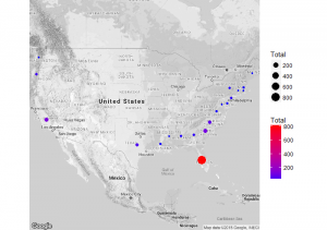 United States Shark Attacks Plotted